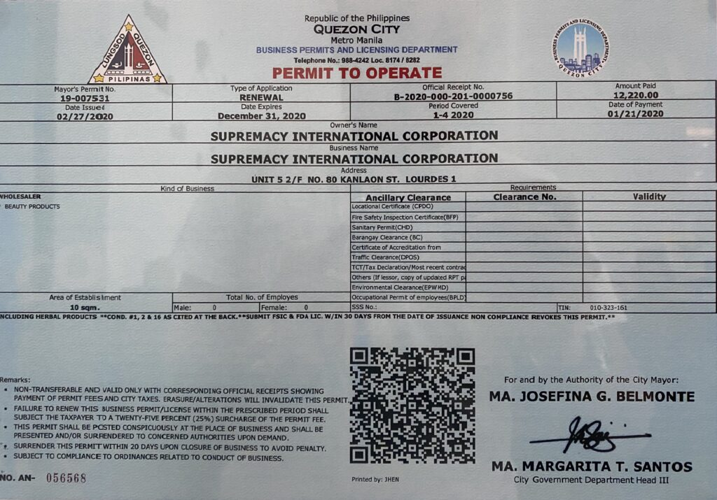 Supremacy International Corporation Main Office Official FDA Registration Business Negosyo Home Based Philippines Reviews Comments Testimonials